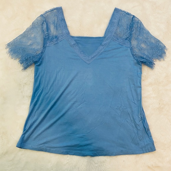 amazon Tops - NWOT Blue Reversible Tee Shirt with Lace Sleeves M